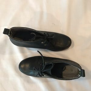 Black sperry wedge lace up heels size 8